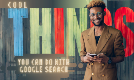 African man in a dark brown jacket checking the cool things you can do with Google search