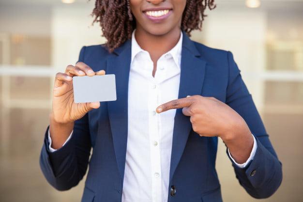 lady holding identity card