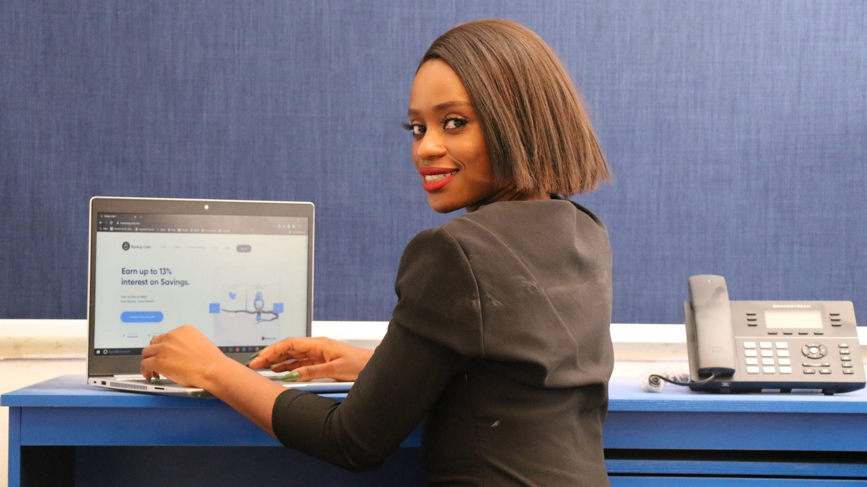 African career woman at work