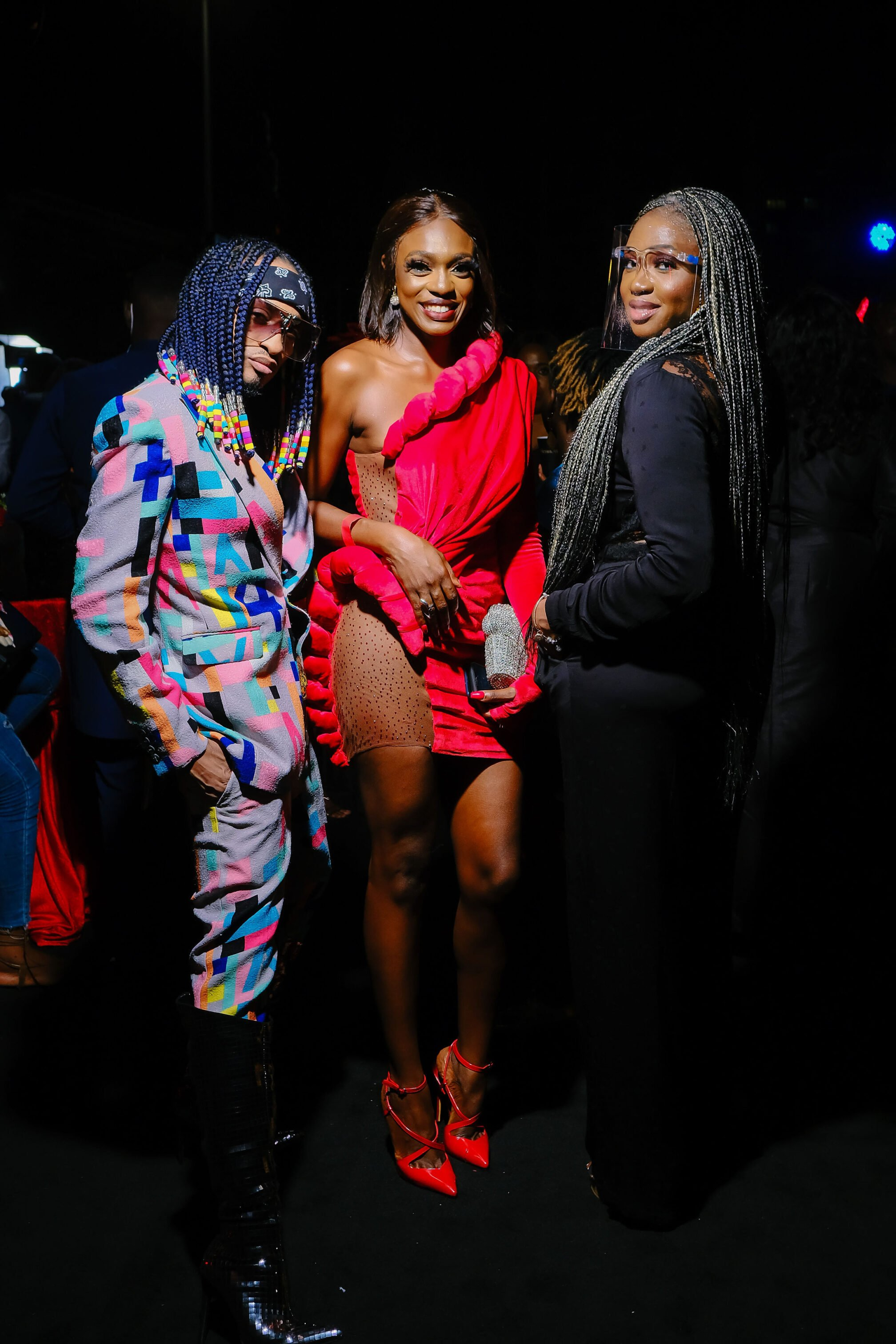 denrele edun and waje at the premiere of nneka the pretty serpent.