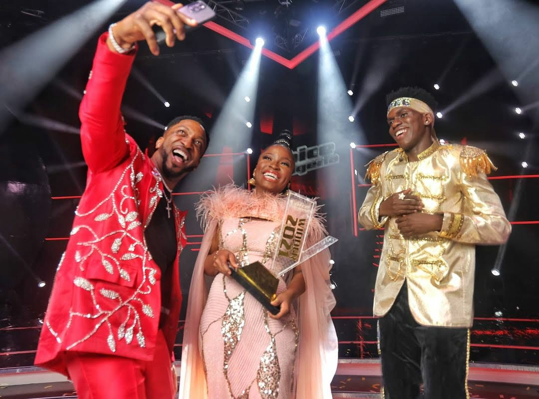 darey, esther benyeogo and kpee at the finale of the voice nigeria season 3