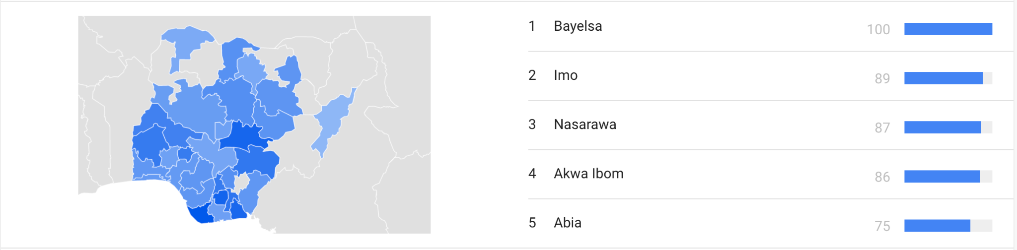 map showing the top state in Nigeria searching for beauty